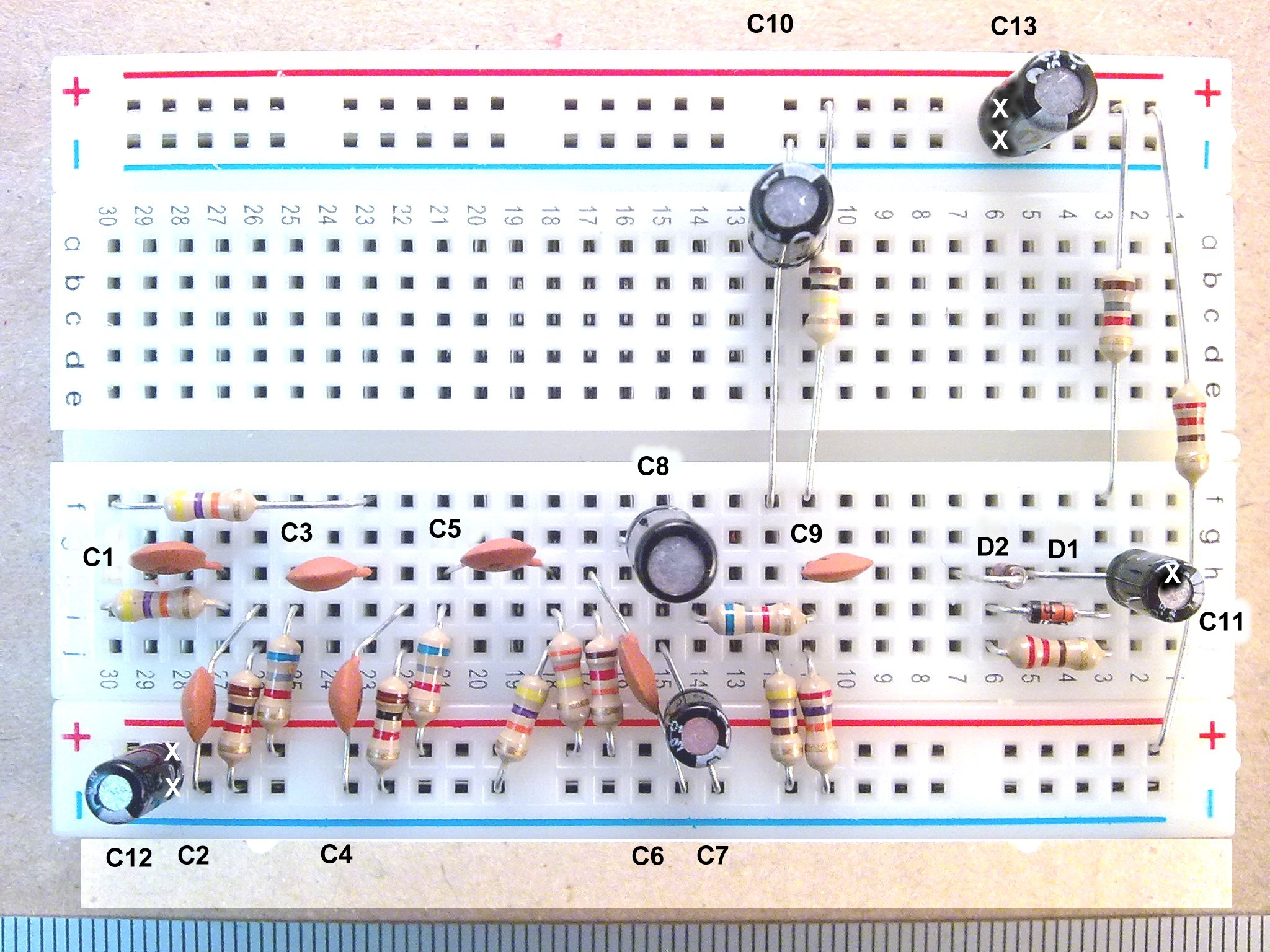 Useful Components Breadboard Transistor Radio Electronic Circuit Trf With Resistors Capacitors And Diodes Inserted